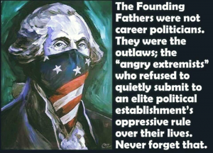 "The Founding Fathers were not career politicians. They were the criminal; the ""angry extremists"" who refused to quietly submit to an elite political establishments's oppressive rule over their lives."